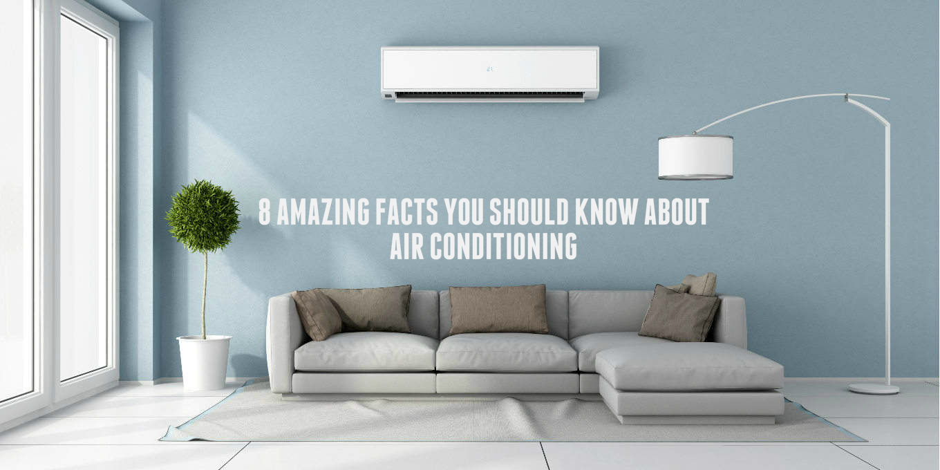Split air conditioner positioned on a blue wall.